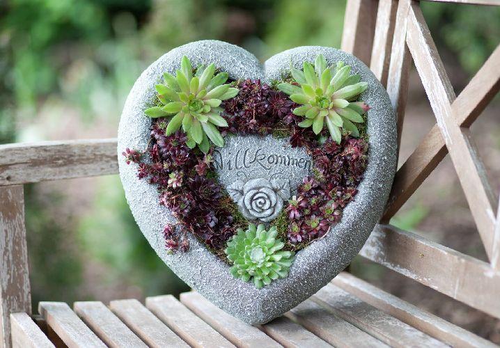 Grosses herz zum bepflanzen willkommen gartendeko pflanzherz for Gartendeko zum bepflanzen