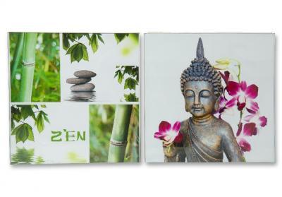 2 glasbilder bambus buddha motiv feng shui je 30 x 30 cm. Black Bedroom Furniture Sets. Home Design Ideas