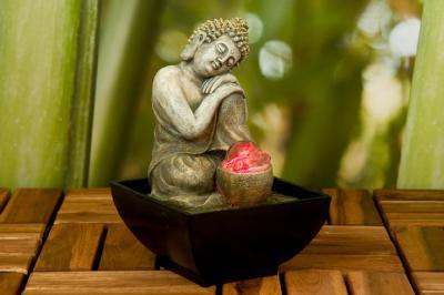 Zimmerbrunnen buddha mit beweglicher glaskugel led licht - Zimmerbrunnen feng shui ...