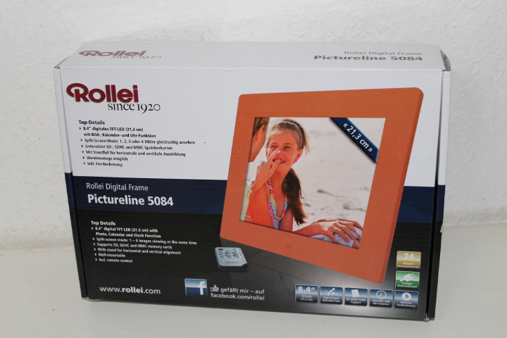 rollei pictureline digitaler bilderrahmen 21 3 cm 8 4 zoll display split scr ebay. Black Bedroom Furniture Sets. Home Design Ideas