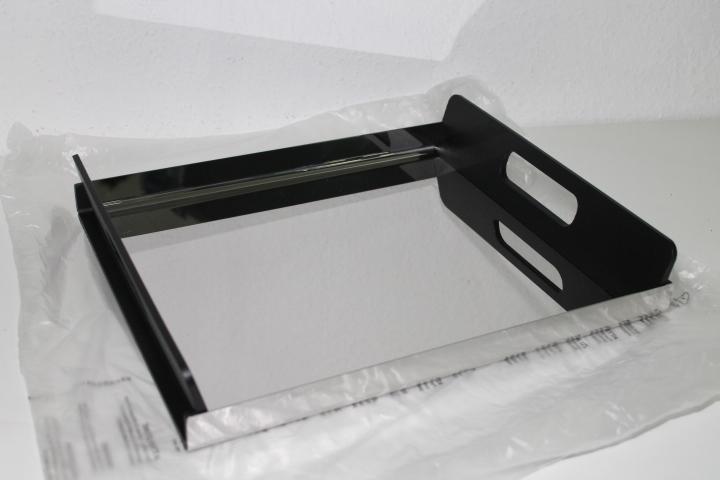 alessi gia01 35 tablett rechteckig edelstahl mit griffen aus pmma schwarz ebay. Black Bedroom Furniture Sets. Home Design Ideas