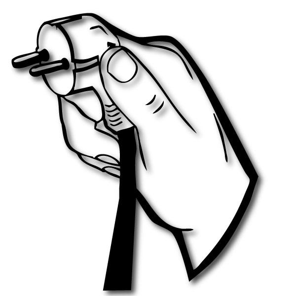 steckdosen aufkleber stecker motiv hand wandtattoo ebay. Black Bedroom Furniture Sets. Home Design Ideas