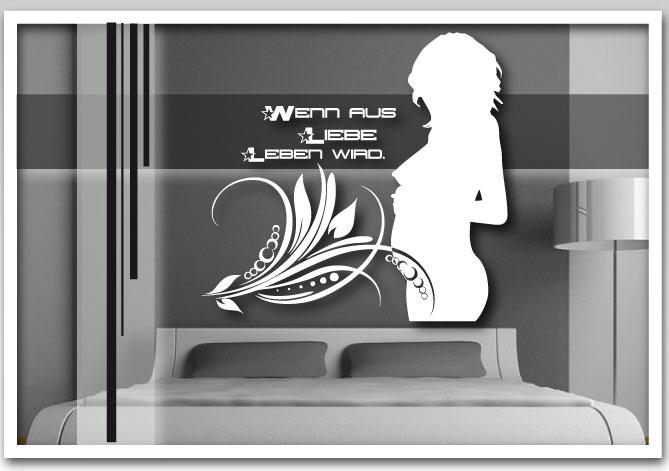 wandtattoo schwangere aufkleber schlafzimmer motiv liebe mit schriftzug ebay. Black Bedroom Furniture Sets. Home Design Ideas