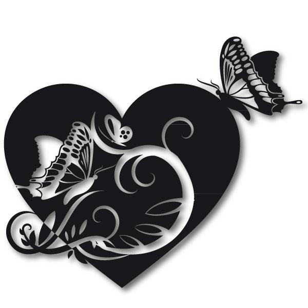 Liebes Wandtattoo **Herz Mit Schmetterlingen** Aufkleber Wandtattoo Blumen  Kinderzimmer