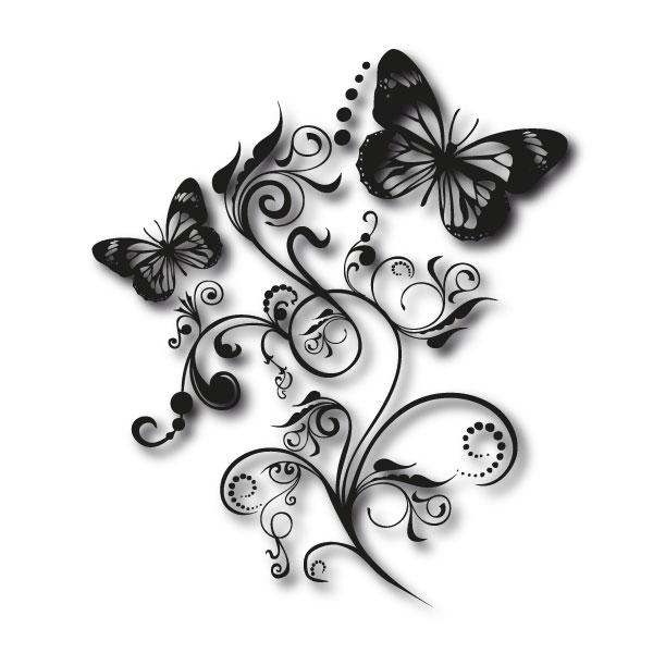 autotattoo schmetterling ranke aufkleber floral blumen design ebay. Black Bedroom Furniture Sets. Home Design Ideas