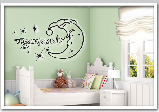 aufkleber kinderzimmer wandtattoo traumland schlafen ebay. Black Bedroom Furniture Sets. Home Design Ideas