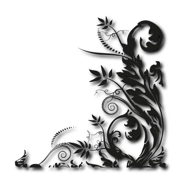 eckwand tattoo pflanzenmuster motiv ranke aufkleber blumen. Black Bedroom Furniture Sets. Home Design Ideas