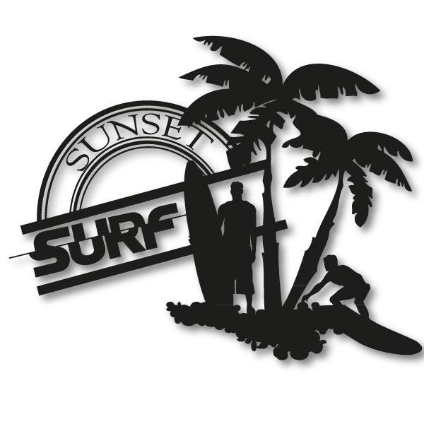 surf sunset urlaubsfeelling wandtattoo xxl surfer boy aufkleber palmen beach ebay. Black Bedroom Furniture Sets. Home Design Ideas