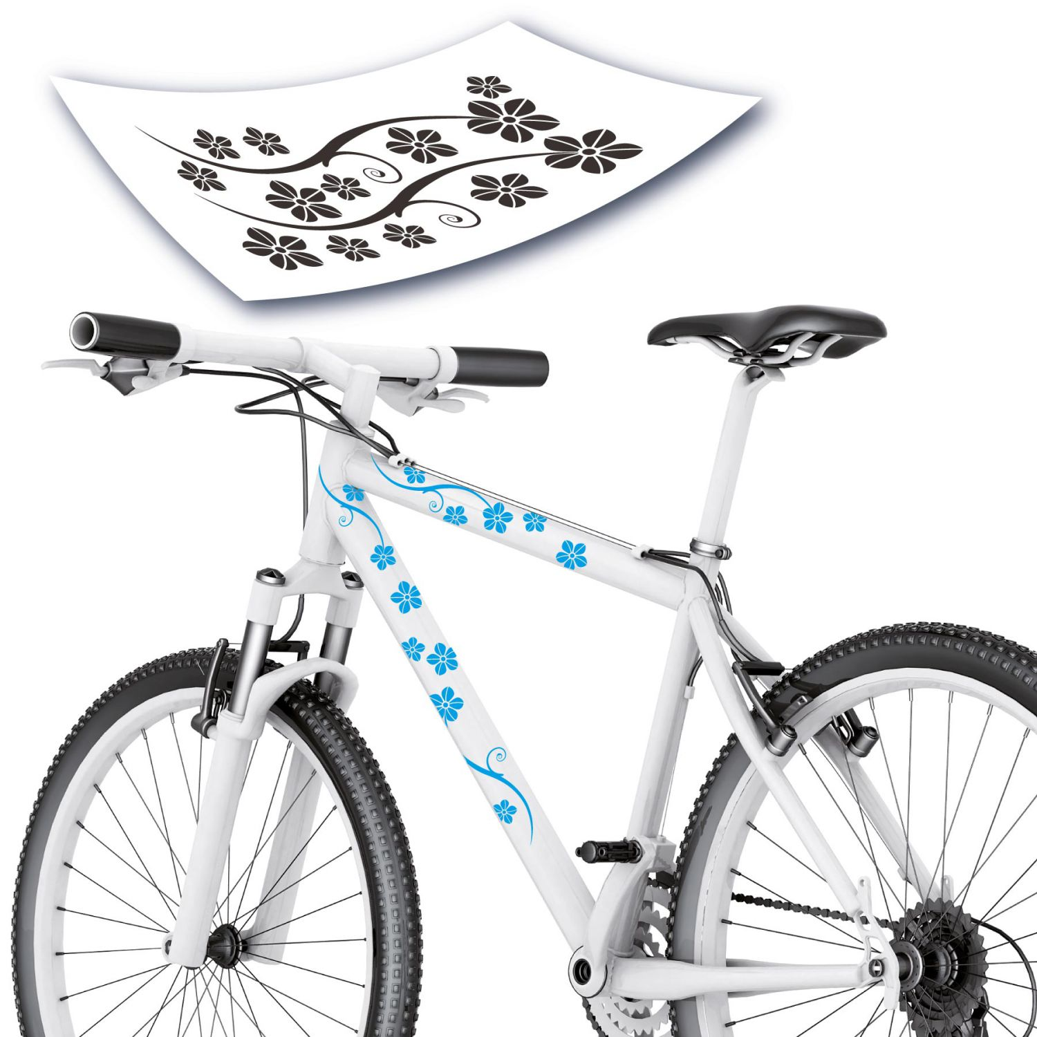 blumen bl ten fahrradaufkleber fahrrad aufkleber sticker hibiskus style4bike ebay. Black Bedroom Furniture Sets. Home Design Ideas