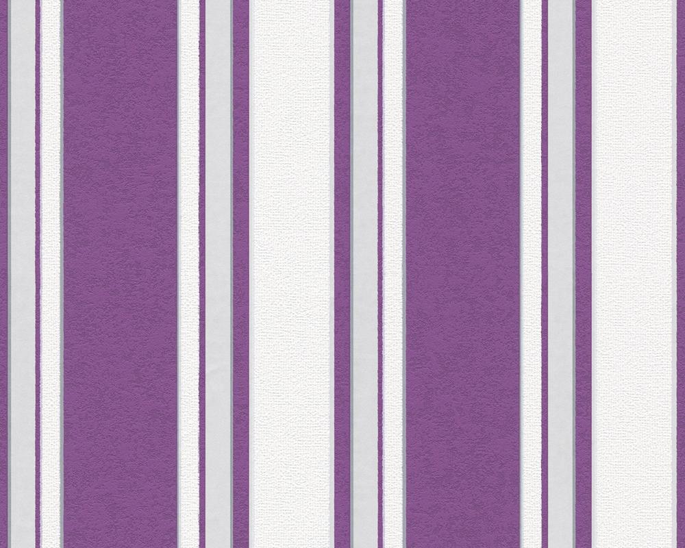 A s tapete kaja 2852 63 vlies neu streifen lila wei grau for Muster tapete lila grau