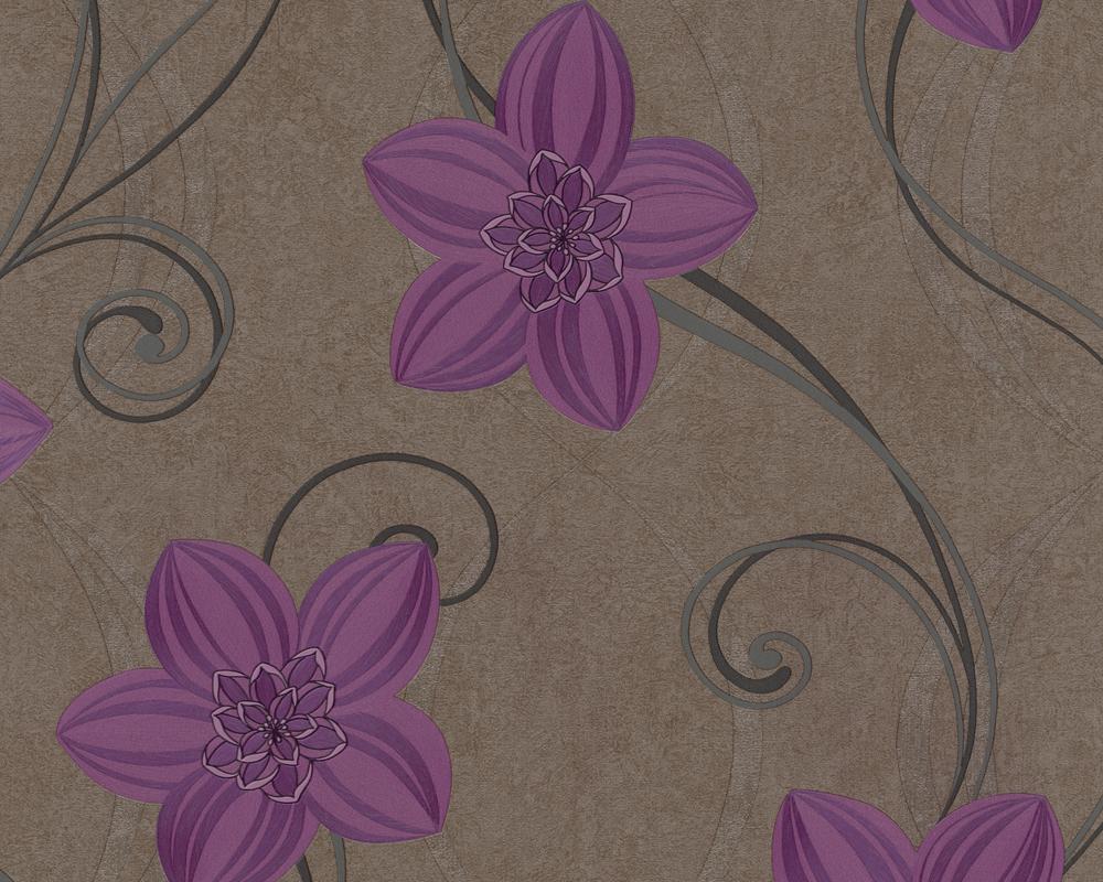 Muster Tapete Lila Schwarz : 18 Vlies Floral Blumen gebl?mt Braun Lila Schwarz (2,49?/m) eBay