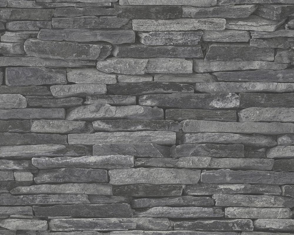 A s tapeten wood 39 n stone 9142 24 vlies neu stein optik for Tapeten schwarz grau muster