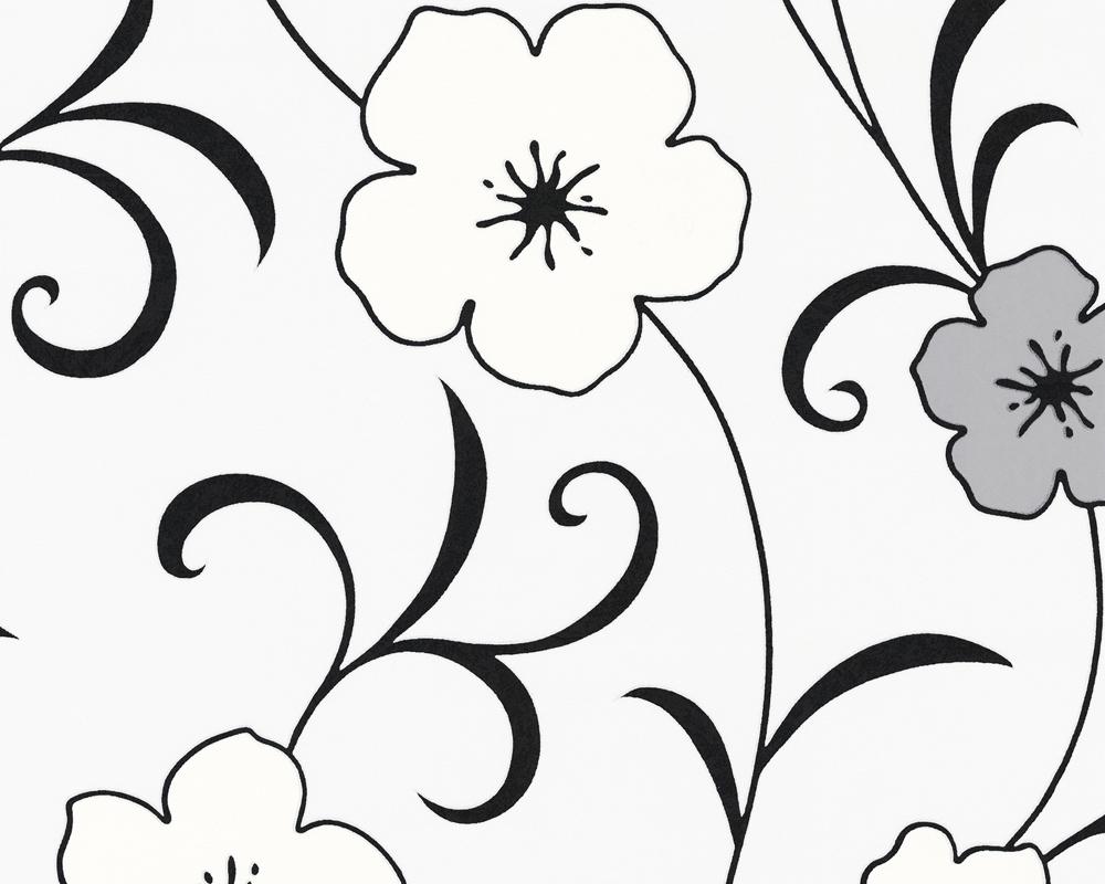 caroline 2013 8336 31 a s tapeten floral blumen grau schwarz wei vlies neu ebay. Black Bedroom Furniture Sets. Home Design Ideas