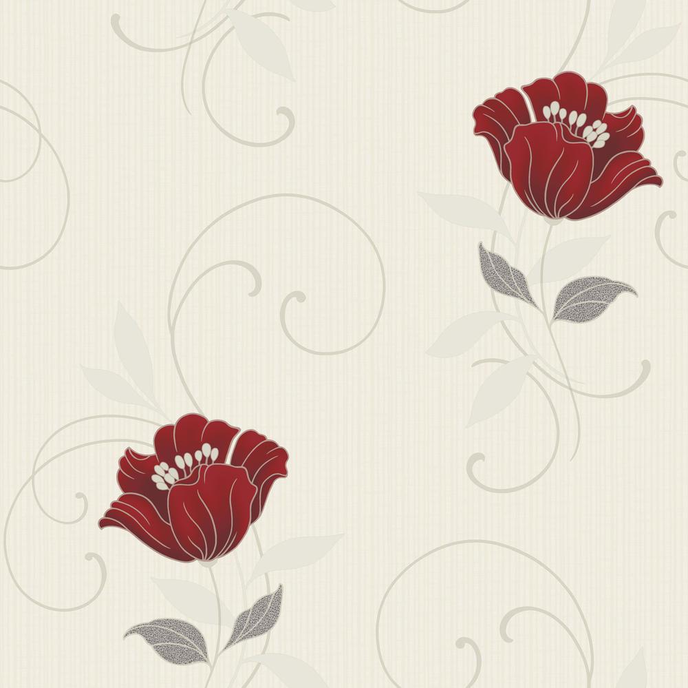 cf 88102 grandeco tapete vlies neu floral blumen beige creme rot braun grau ebay. Black Bedroom Furniture Sets. Home Design Ideas