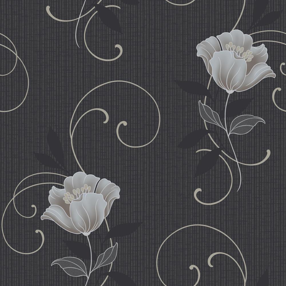 Cf 88105 grandeco tapete vlies neu floral blumen geblümt anthrazit ...