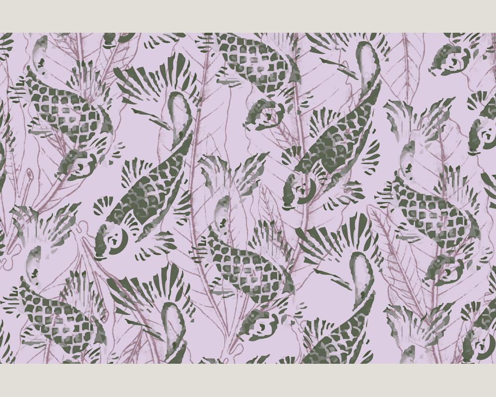 ap digital 4720 13 foto tapete vlies neu purple koi fische ebay. Black Bedroom Furniture Sets. Home Design Ideas