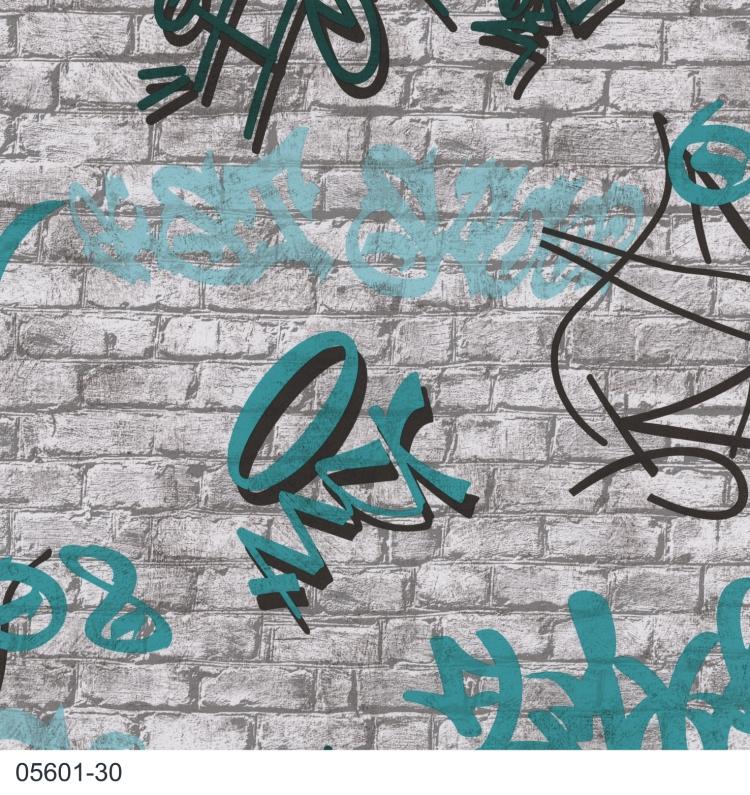 Young spirit 2015 05601 30 p s tapeten papier neu modern art grau blau petrol ebay - Tapete petrol blau ...