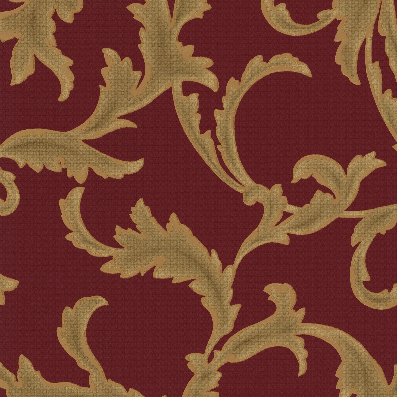 tresor 42036 30 tapete vlies neu floral blume ranke barock rot gold ebay. Black Bedroom Furniture Sets. Home Design Ideas