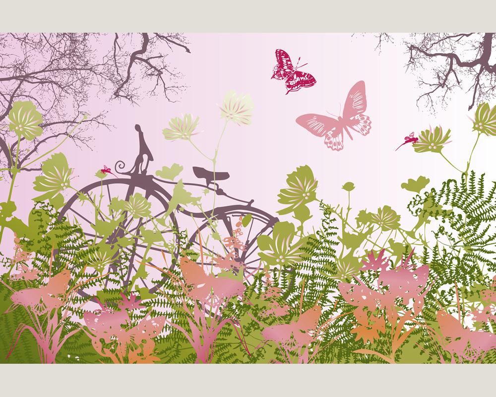 wallpaper 0469 11 foto tapete neu vlies fahrrad blumen wiese bunt ebay. Black Bedroom Furniture Sets. Home Design Ideas