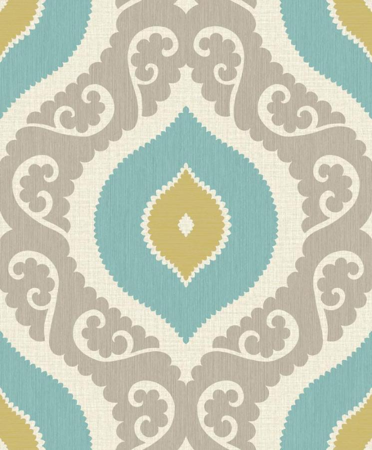 boho chic bc 81103 tapete vlies retro t rkis gelb beige braun 2 59 m ebay. Black Bedroom Furniture Sets. Home Design Ideas