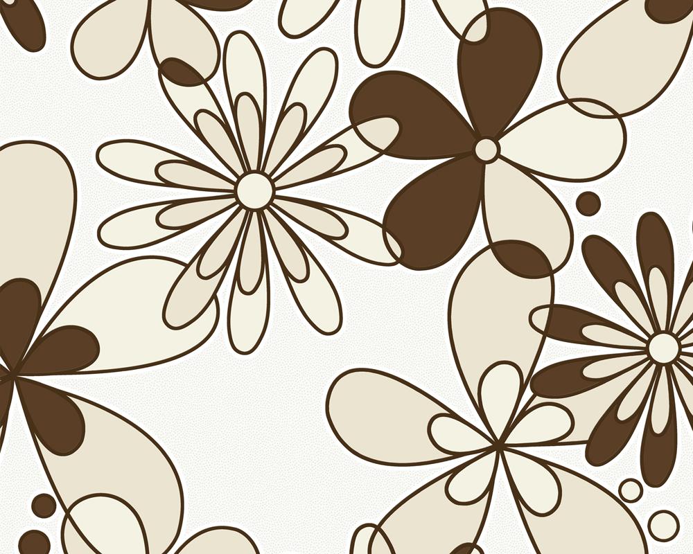 1437 23 tapete retro blumen floral braun beige creme
