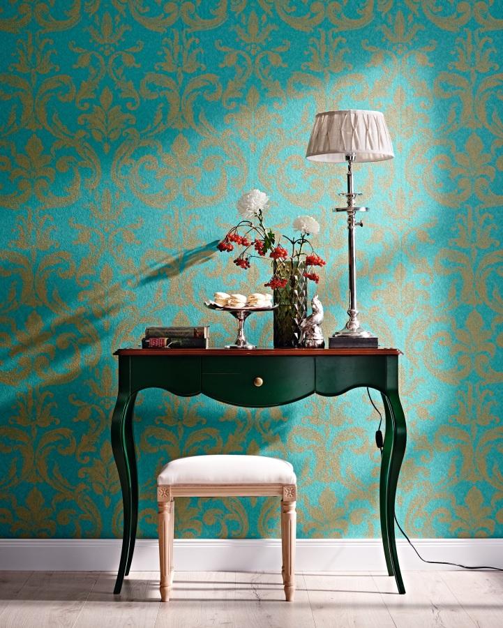 zuhause wohnen 54751 marburg tapete vlies barock t rkis. Black Bedroom Furniture Sets. Home Design Ideas