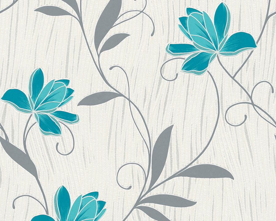 Chicago 3062 10 tapete papier blume ranke floral blau wei for Tapete petrol grau