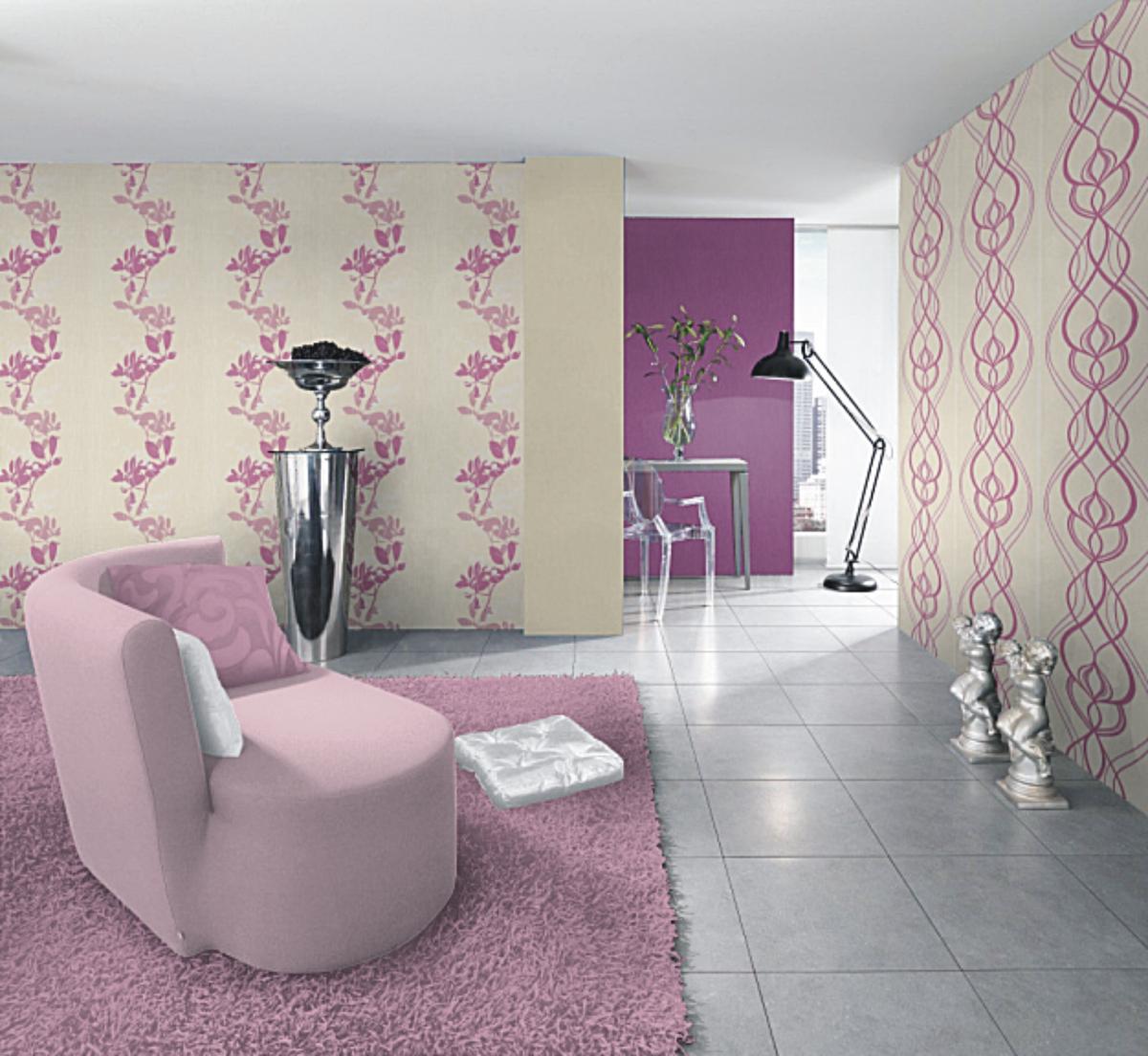 Muster Tapete Um Fenster Kleben : Rasch Tapeten Emocion 2013 – 776287 Tapete Neu Retro Barock Creme lila
