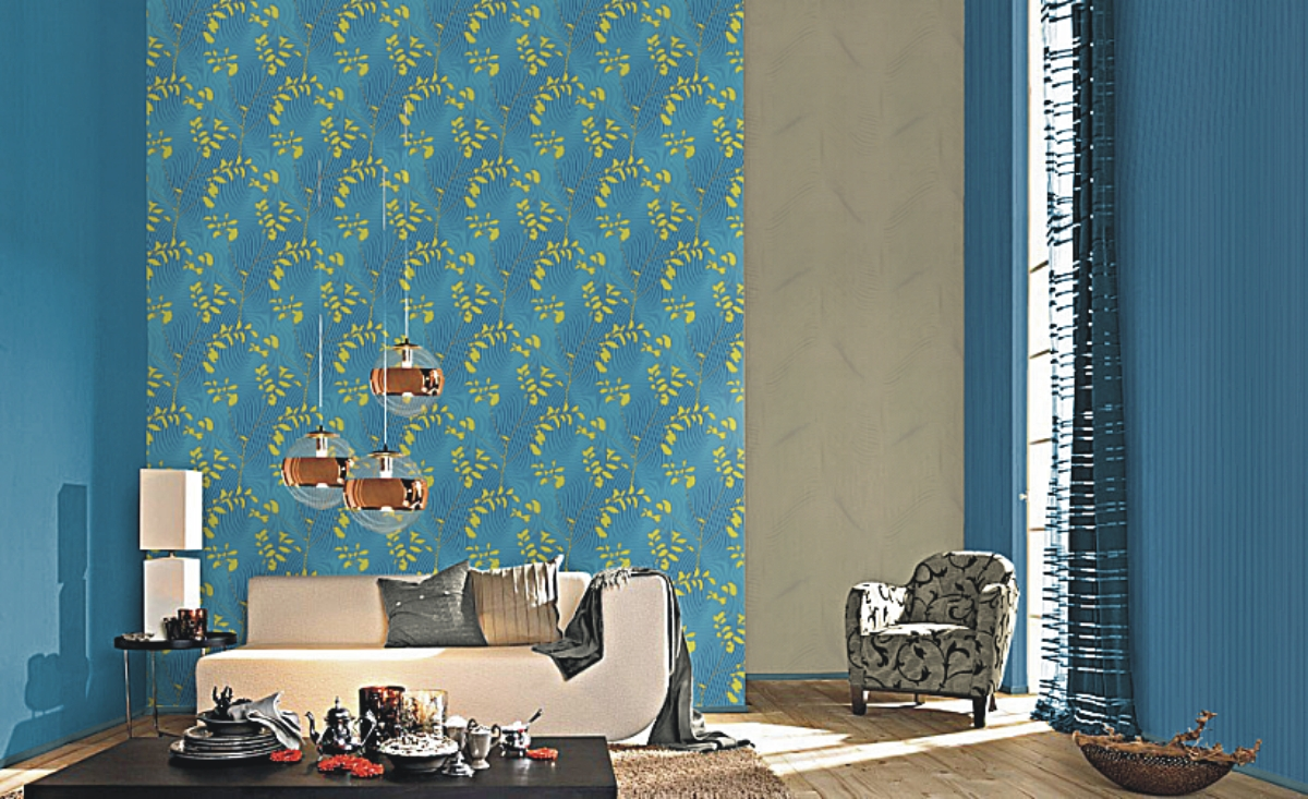 barock tapete t rkis braun. Black Bedroom Furniture Sets. Home Design Ideas