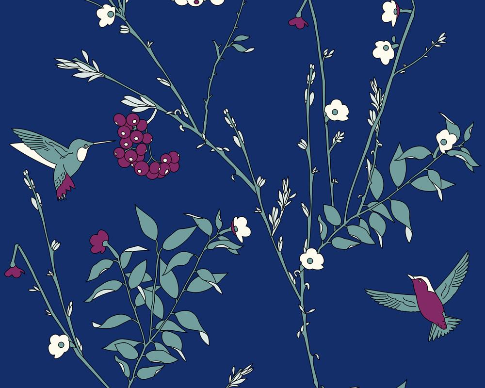 a s jette joop 2358 31 tapete vlies floral blume modern blau 2 39 m ebay. Black Bedroom Furniture Sets. Home Design Ideas