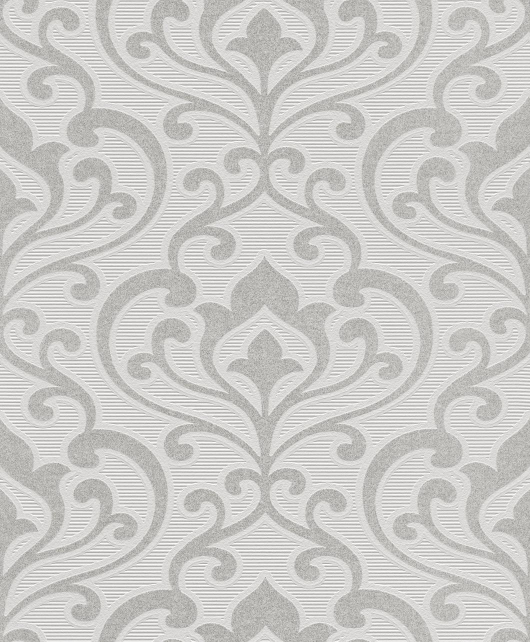 Tapete weiß ornamente  Rasch Tapete Queen - 795004 Ornamente Barock weiß silber Vlies (1 ...