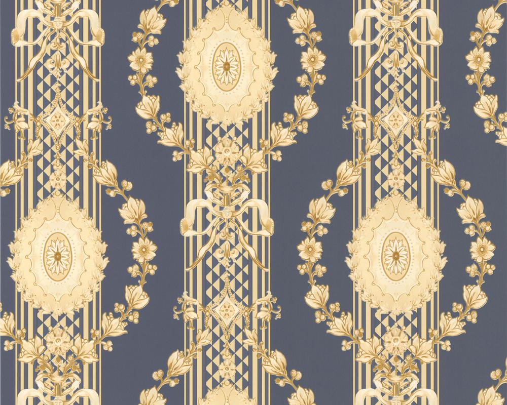 Hermitage Tapeten Versand : Hermitage 8 – 8892-49 Tapeten Barock Ornamente Satin Blau Gelb (2,48