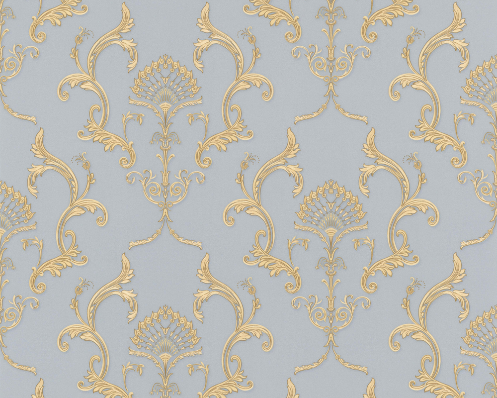 Tapeten Ornamente Barock : Hermitage 8 – 8924-16 Tapeten Barock Ornamente Satin Blau Gelb (2,48
