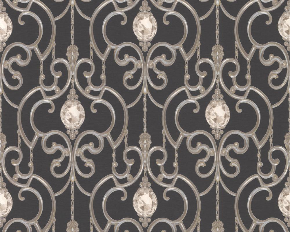a s hermitage 8 8912 35 tapeten barock ornamente satin schwarz 2 48 m ebay. Black Bedroom Furniture Sets. Home Design Ideas