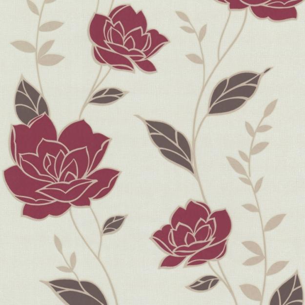 flair 2013 03893 10 tapete floral rot beige braun vlies neu ebay. Black Bedroom Furniture Sets. Home Design Ideas