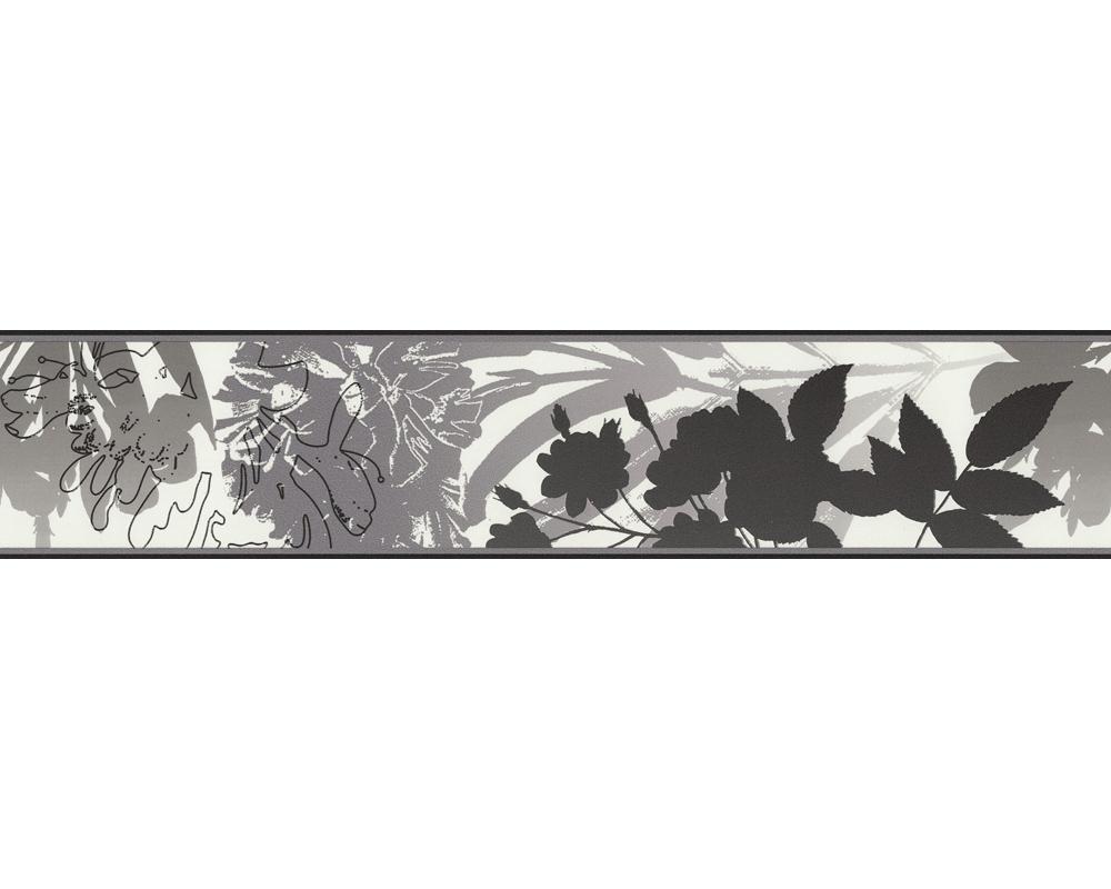 tapete esprit 7 2659 37 bord re vlies floral blume grau schwarz wei 4 79 m ebay. Black Bedroom Furniture Sets. Home Design Ideas