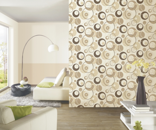 confetti 03966 20 vlies neu modern art retro tapete wei gr n braun ebay. Black Bedroom Furniture Sets. Home Design Ideas