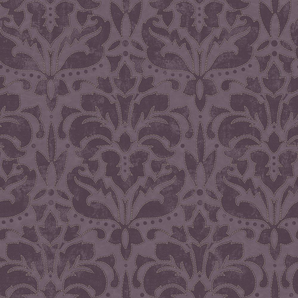Grandeco tapeten new skin 74407 vlies barock glanz lila for Tapete lila gold