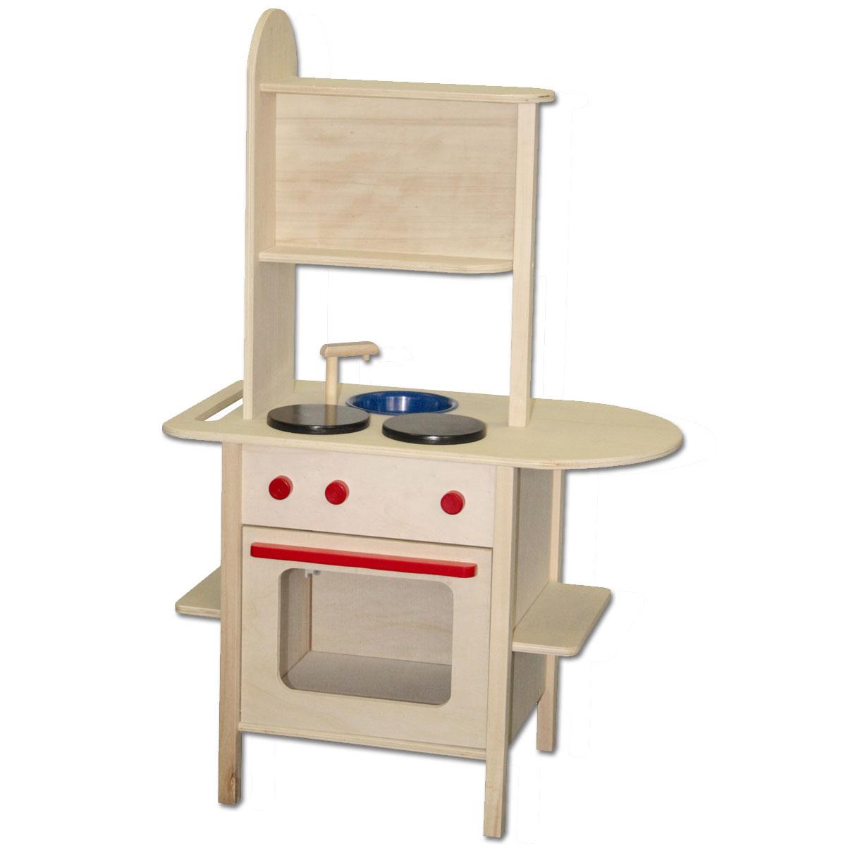 KinderkUche Holz Von Beiden Seiten Bespielbar ~ ROBA Spielküche Kinderküche Holz natur unbehandelt Holzspielküche