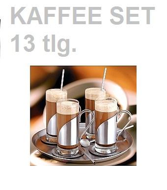 kaffee gl ser set mit tablett l ffel latte macchiato. Black Bedroom Furniture Sets. Home Design Ideas
