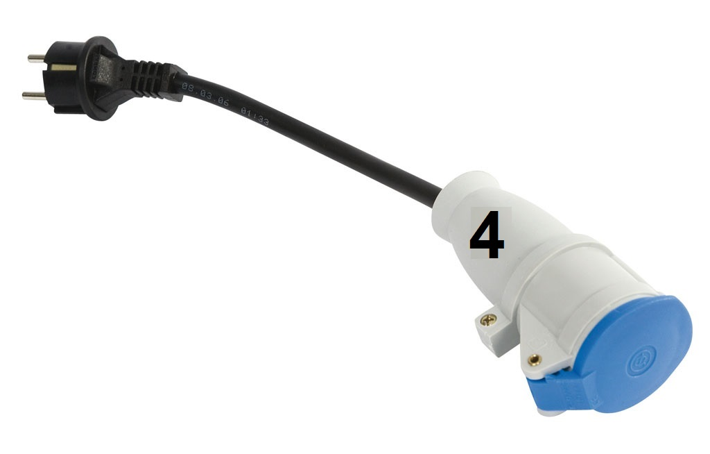 adapterkabel cee kupplung 3 polig auf schuko stecker 220. Black Bedroom Furniture Sets. Home Design Ideas