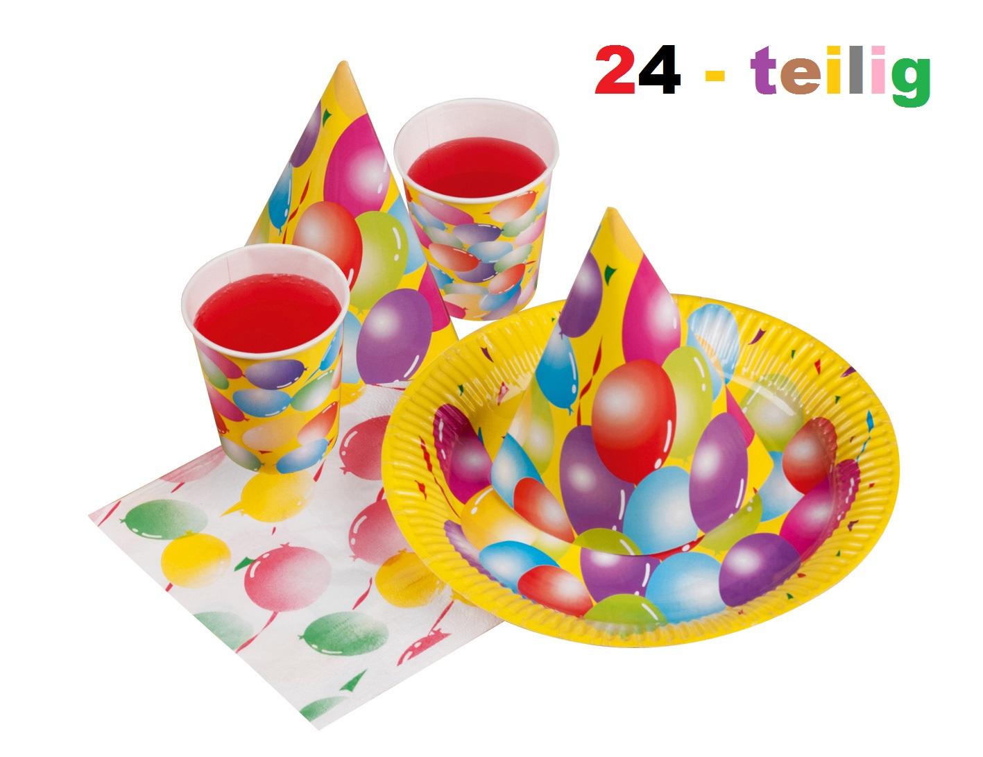 Party set luftballon kindergeburtstag 24 tlg pappteller for Kindergeburtstag pappteller