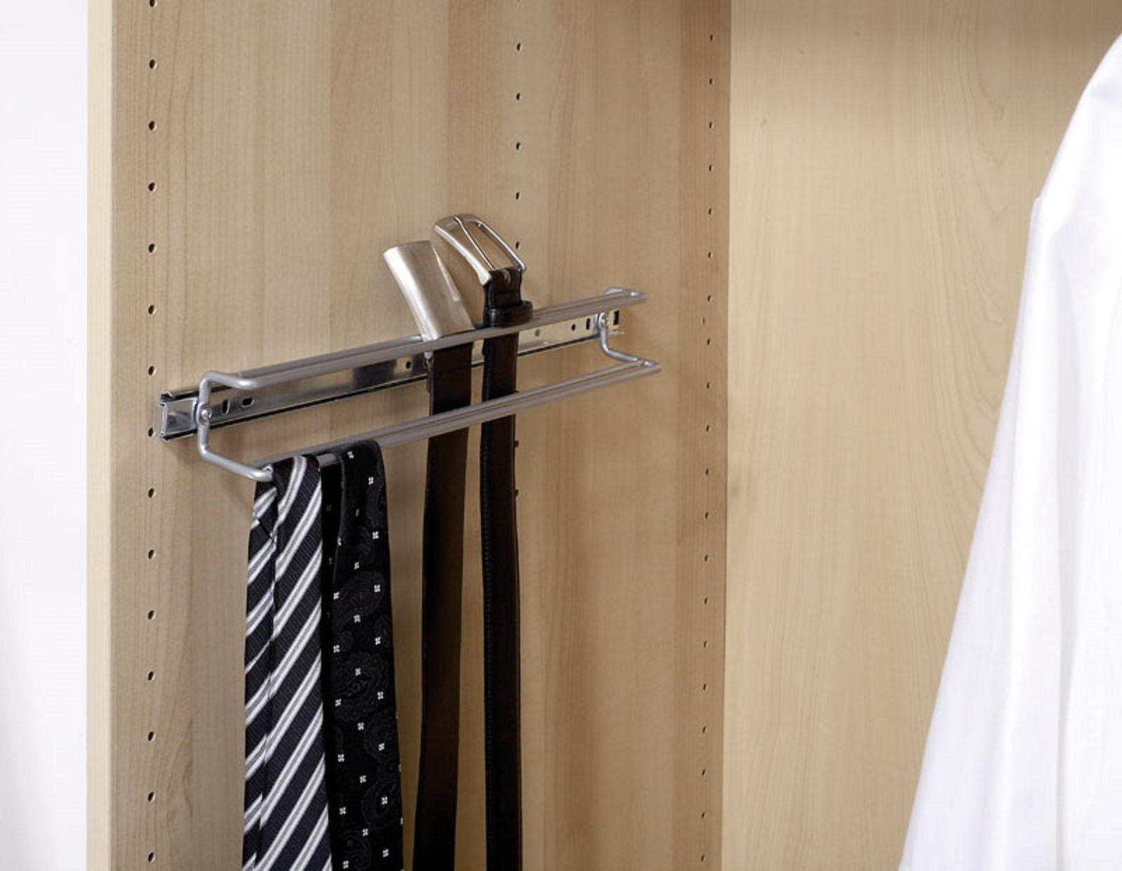 teleskop schrankauszug teleskopauszug krawattenhalter tuchhalter g rtelhalter ebay. Black Bedroom Furniture Sets. Home Design Ideas