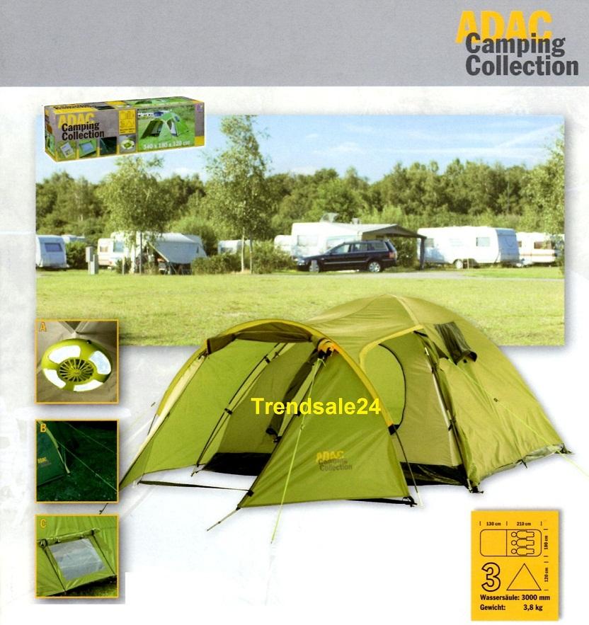 adac camping collection 3 personen zelt zeltlampe ebay. Black Bedroom Furniture Sets. Home Design Ideas