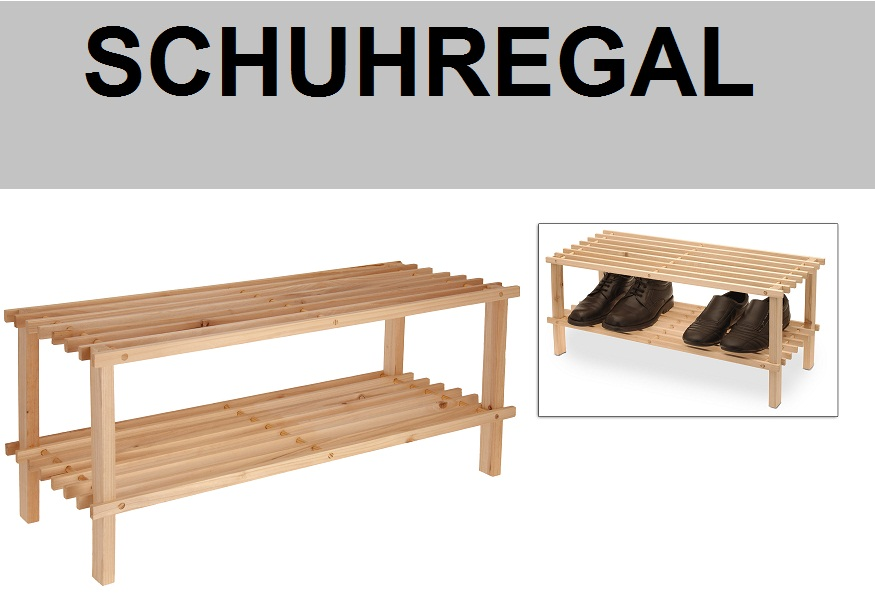 schuhregal schuhst nder schuhablage natur holz 2 boden. Black Bedroom Furniture Sets. Home Design Ideas