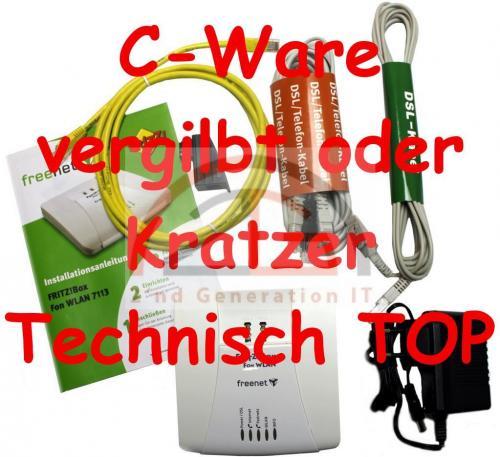 FRITZ-Box-Fon-WLAN-7113-AVM-Fritzbox-Router-ADSL2-125-Mbit-2x-analog-1x-LAN-C-W
