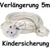 5m Schuko Verlängerungskabel Stromkabel Strom Kabel weiß TÜF GS Kindersicherung