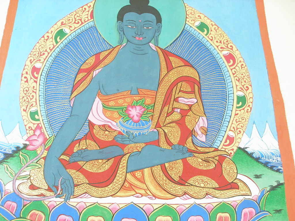 t422 alter thangka medicine buddha bhaisajya handgemalt auf leinwand ebay. Black Bedroom Furniture Sets. Home Design Ideas