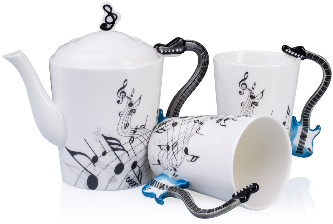 2x tasse 1x kanne teeservice musik gitarre notenblatt tee teetasse geschenk box ebay. Black Bedroom Furniture Sets. Home Design Ideas