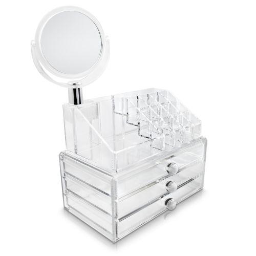 acryl kosmetik organizer box make up st nder schminktisch aufbewahrung spiegel ebay. Black Bedroom Furniture Sets. Home Design Ideas